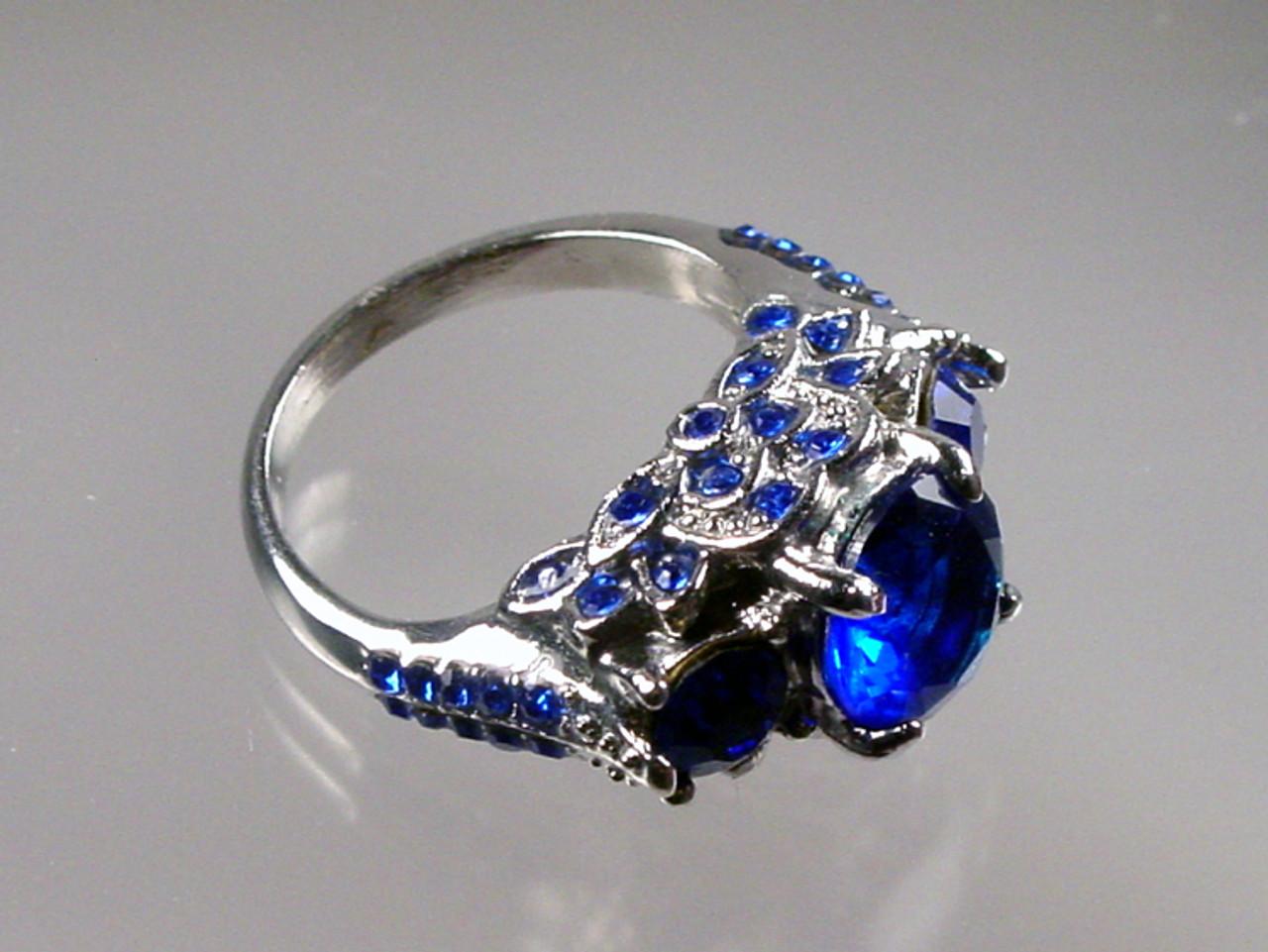 Blue Rhinestones Ring