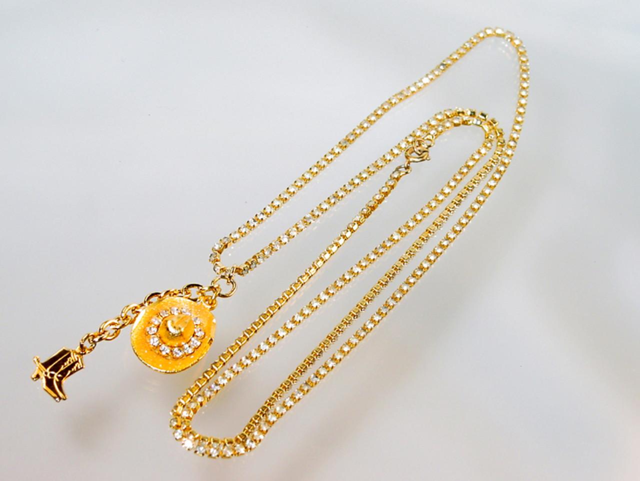 Long western rhinestone necklace