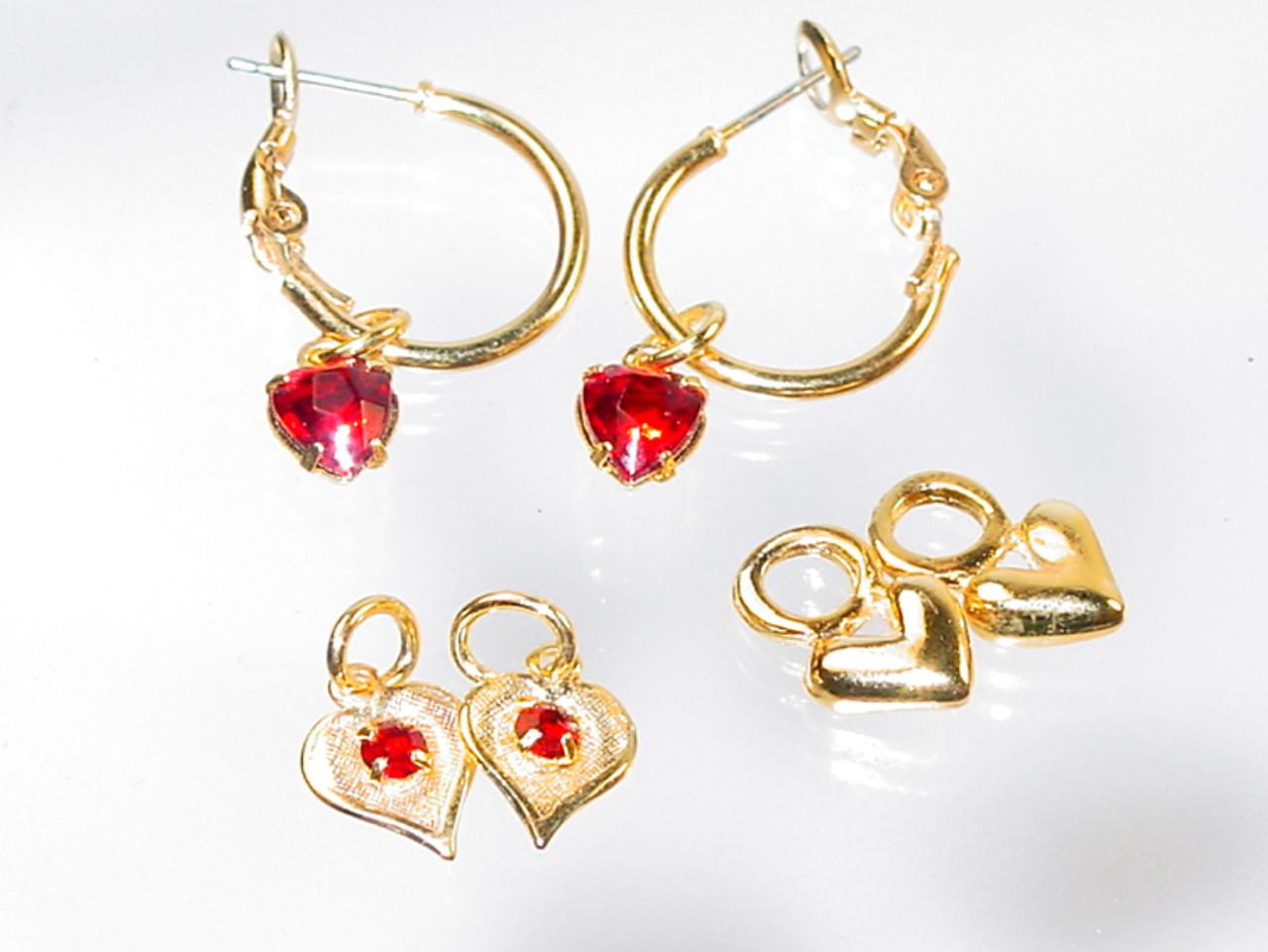 Hoop Earrings Multiple Heart Charms