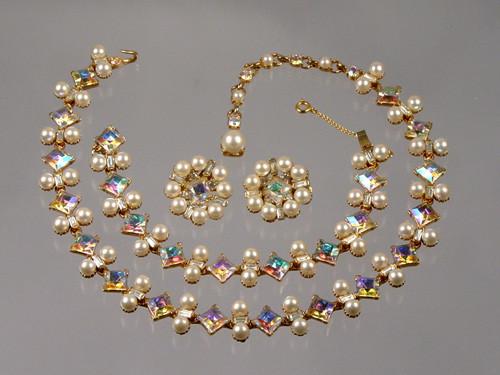 Bogoff princess cut with faux pearls set