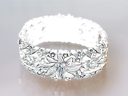 Floral Rhinestone Hinged Bracelet