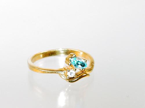 Aqua marquise rhinestone ring