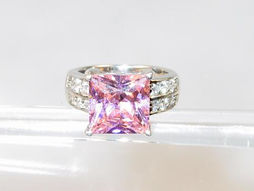 Pink Princess Cut Sterling Silver Ring