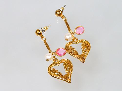 Pink crystal faux pearl heart earrings