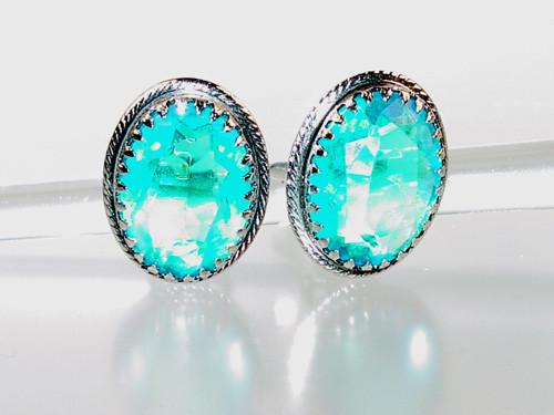 Cyan Blue Glass Earrings