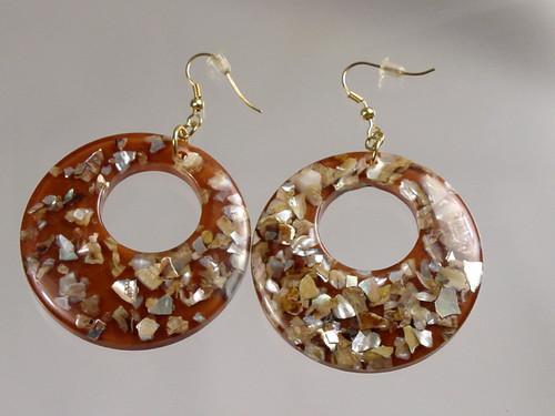 Lucite Hoop earrings with MOP