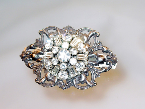 Vintage Jeweled Piece Center French Barrette