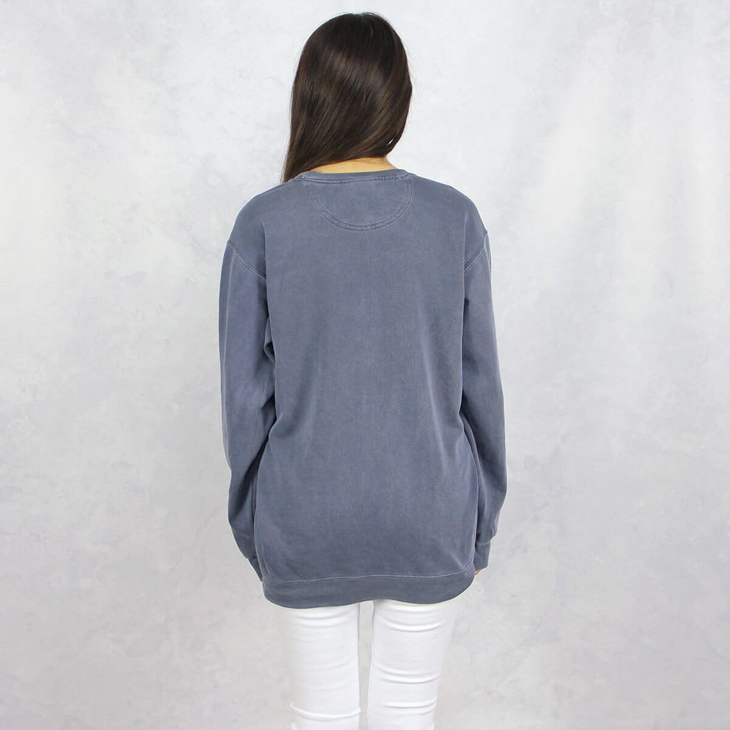 Gamma Phi Beta Embroidered Sweatshirt in Blue by Comfort Colors  Back