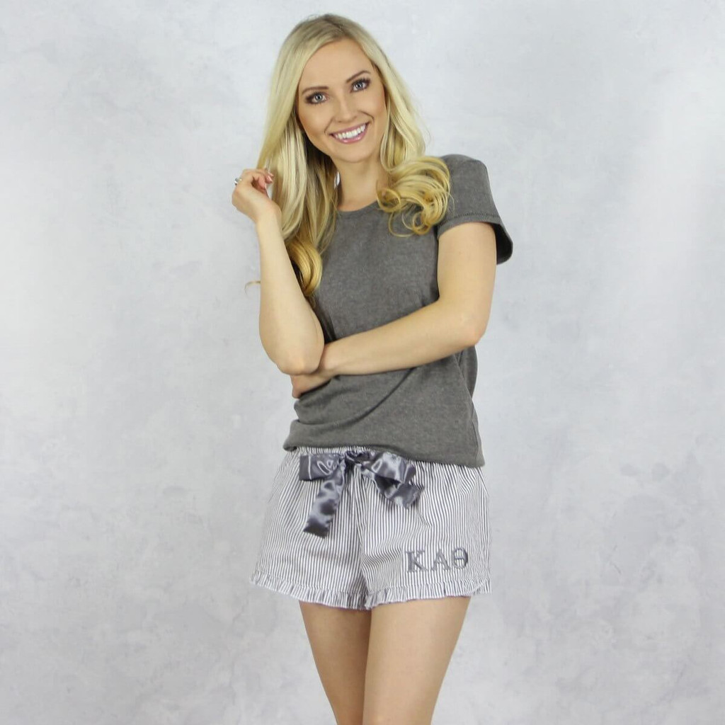 Kappa Alpha Theta Seersucker Striped Boxer Shorts in Gray