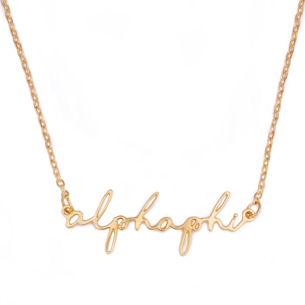 Alpha Phi Gold Script Necklace