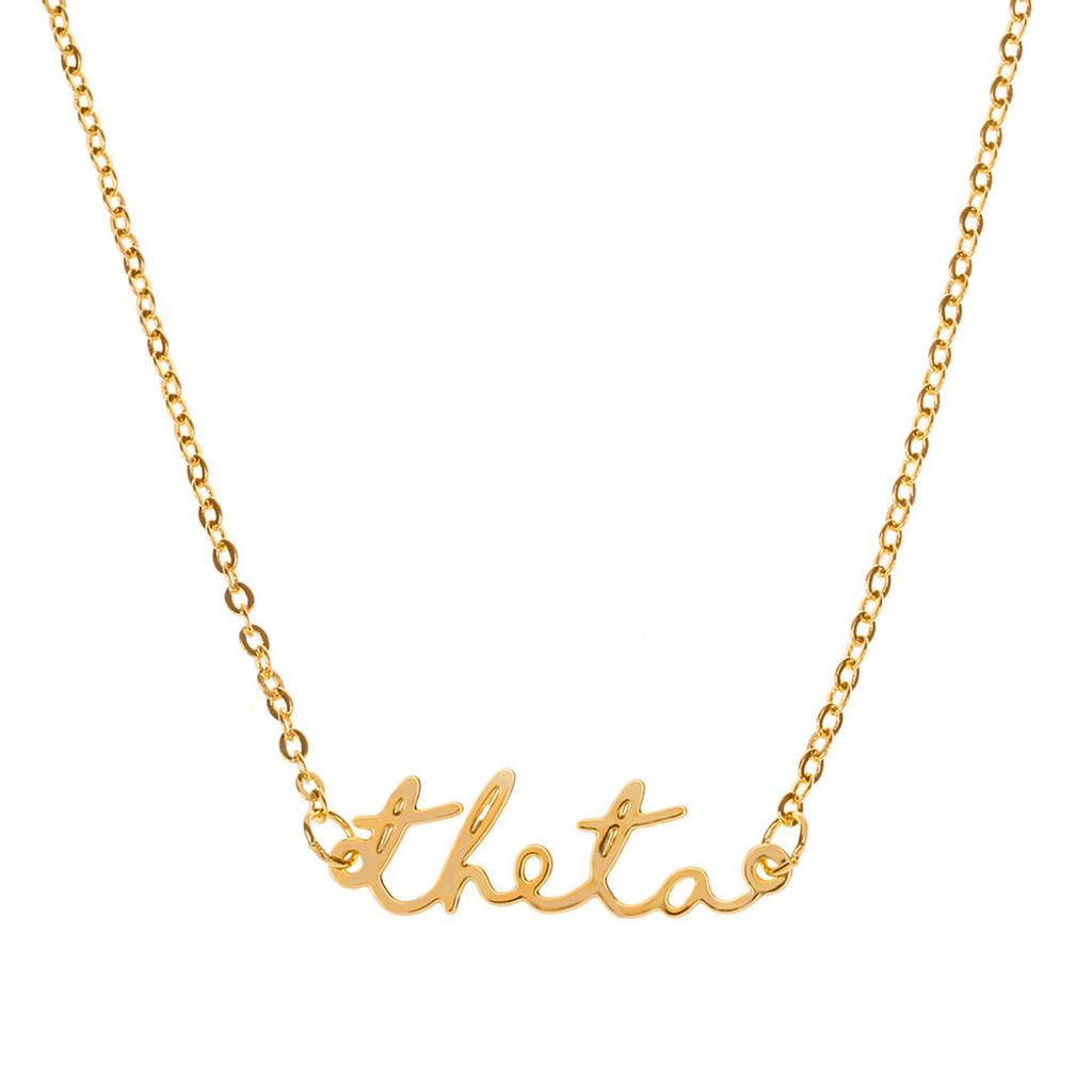 Theta Gold Script Necklace