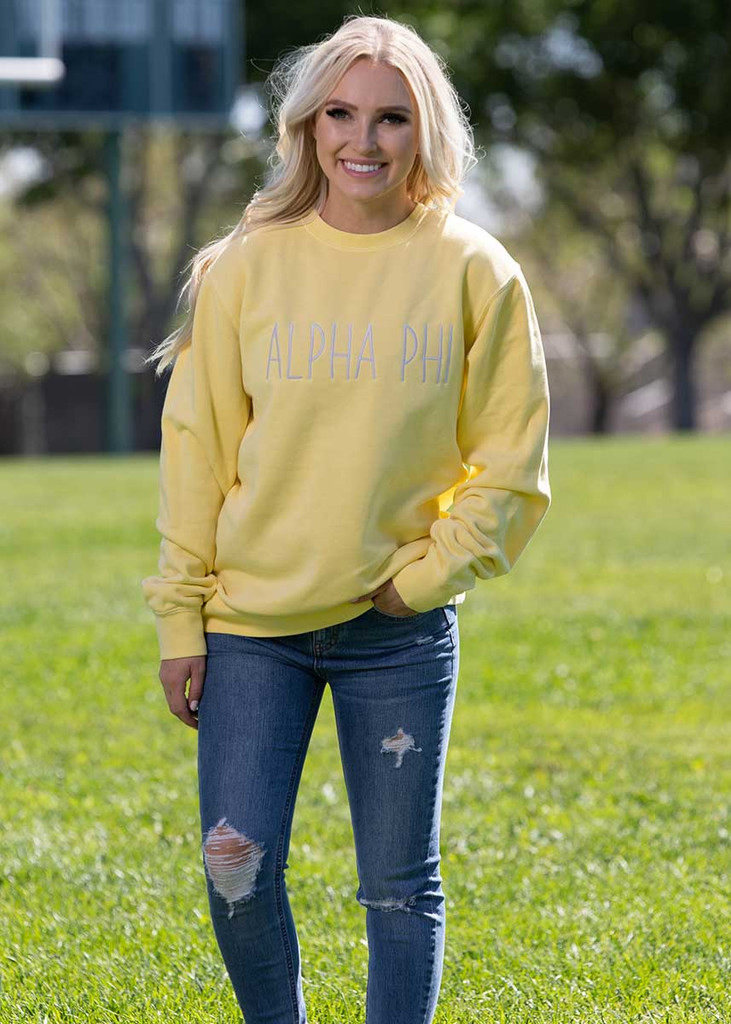 Alpha Phi Embroidered Sweatshirt in Yellow