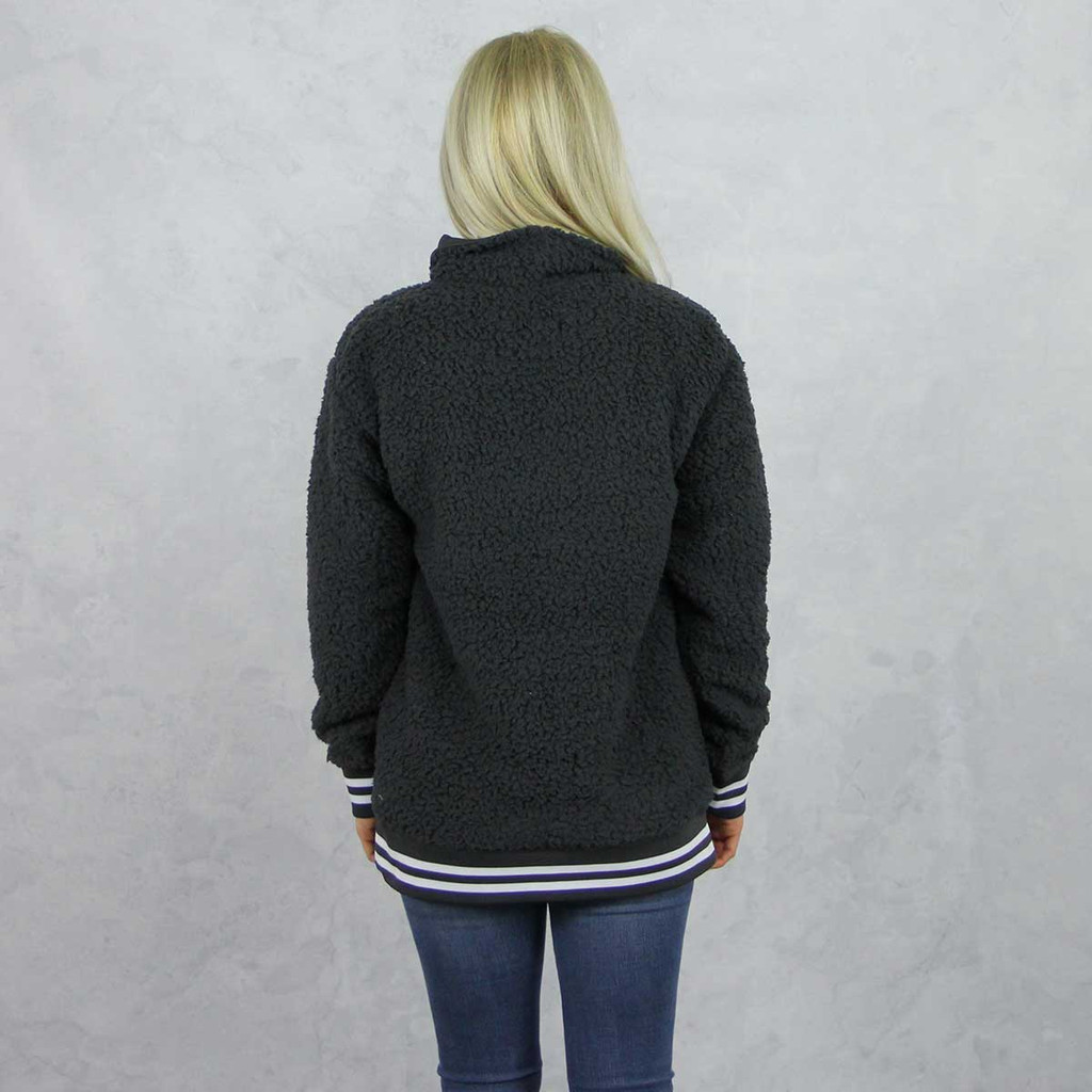 Kappa Alpha Theta Sherpa, quarter zip,  Grey, Back