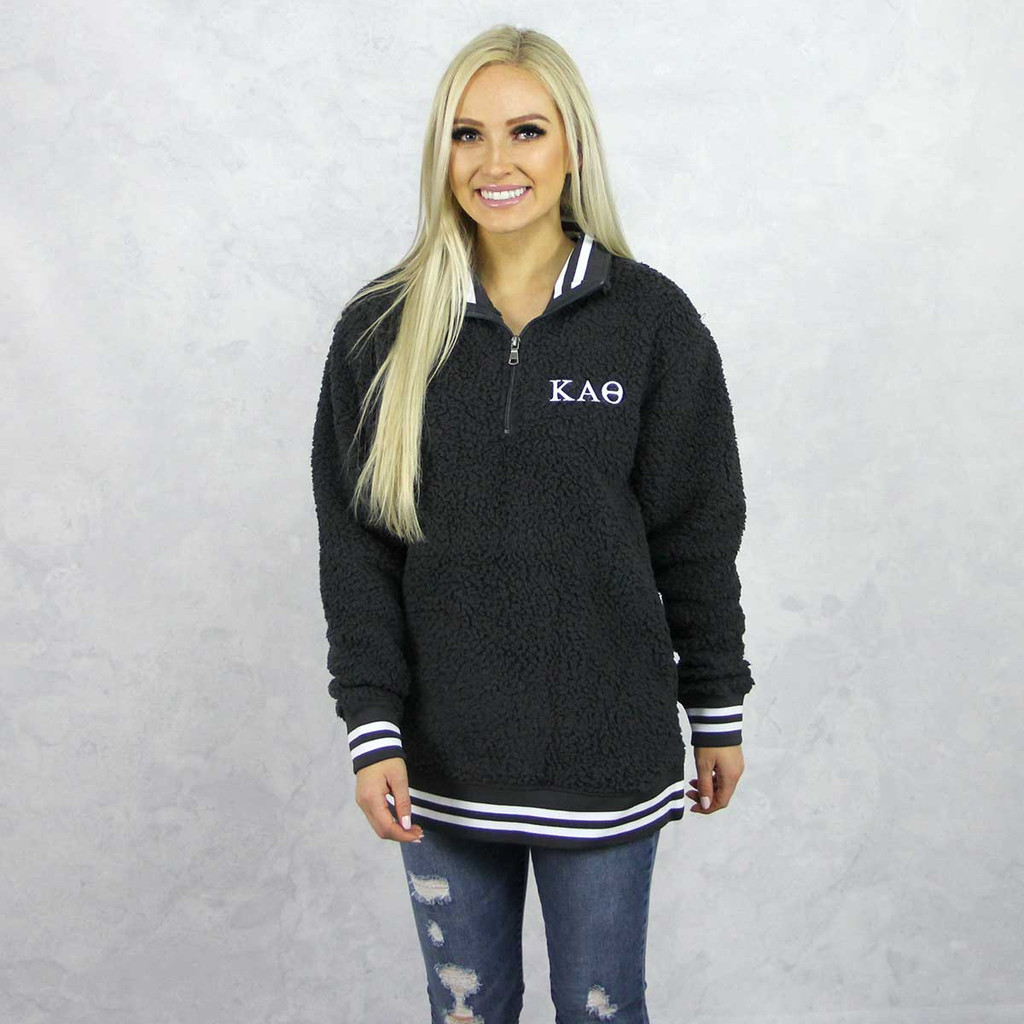 Kappa Alpha Theta Sherpa, quarter zip,  Grey