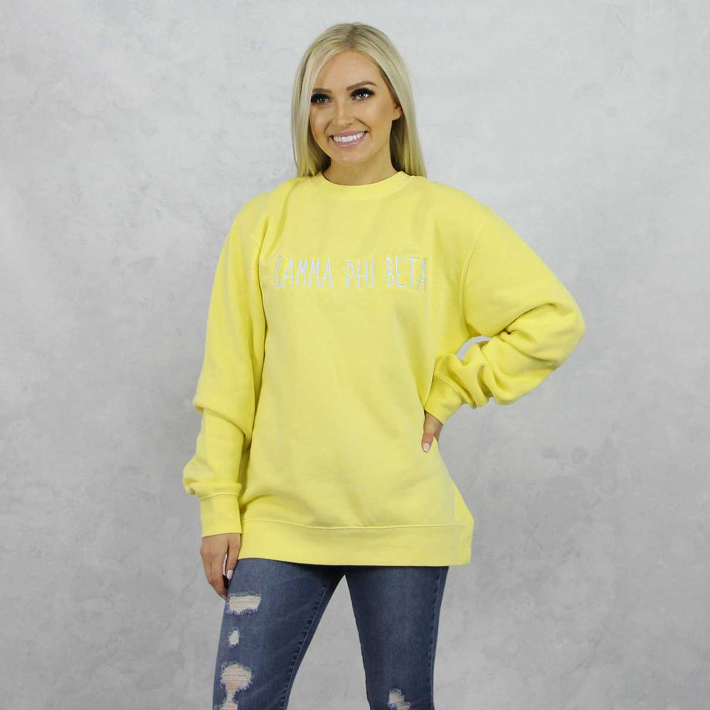 Gamma Phi Beta Embroidered Sweatshirt in Yellow now on Sorority Specialties.