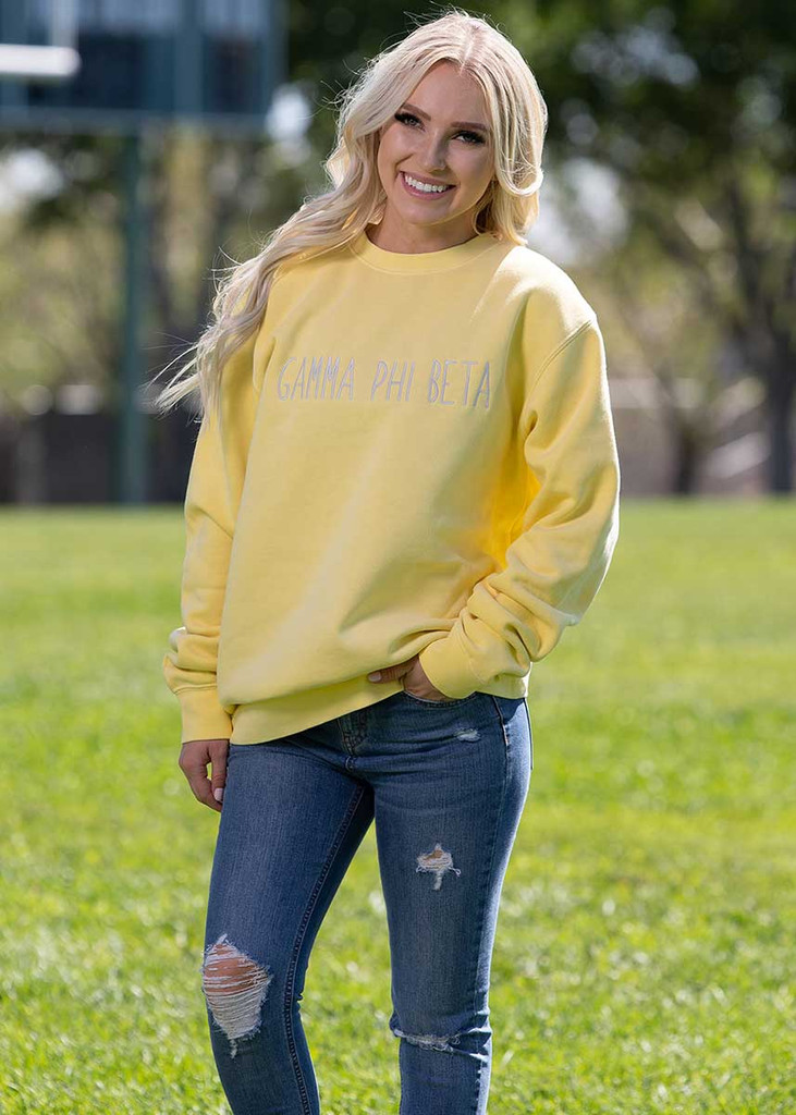 Gamma Phi Beta Embroidered Sweatshirt in Yellow