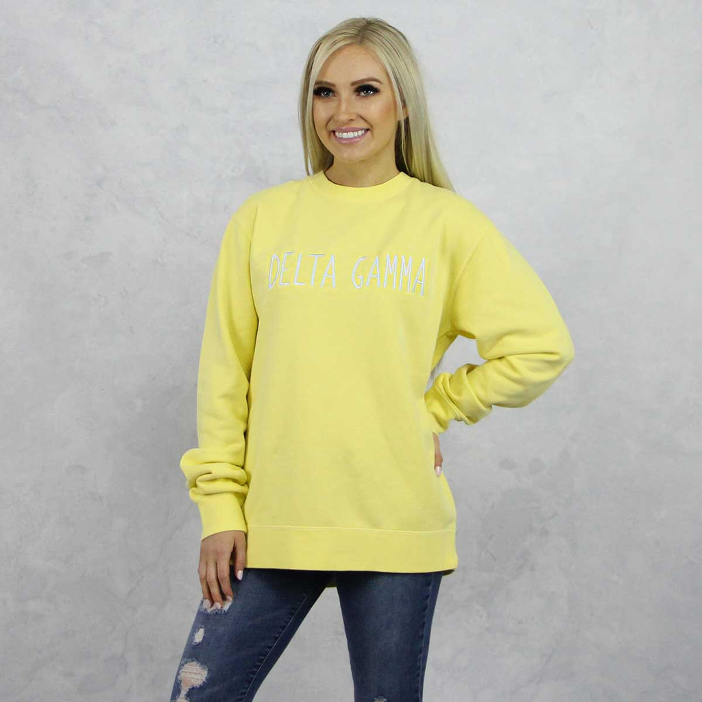 Delta Gamma Embroidered Sweatshirt in Yellow now on Delta Gamma Store.