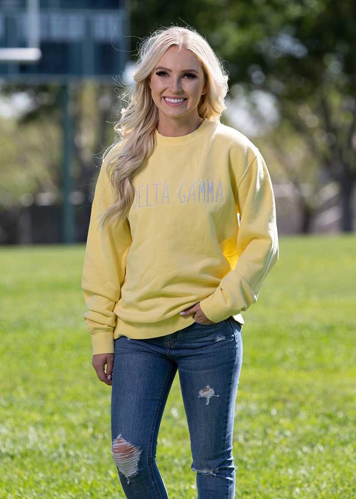 Delta Gamma Embroidered Sweatshirt in Yellow