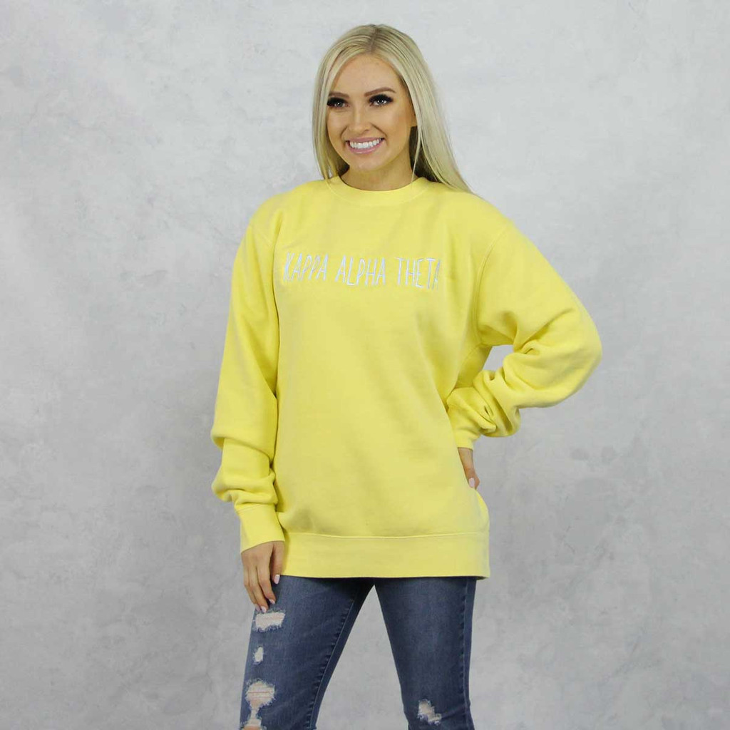 Kappa Alpha Theta Embroidered Sweatshirt in Yellow now on Theta Store.