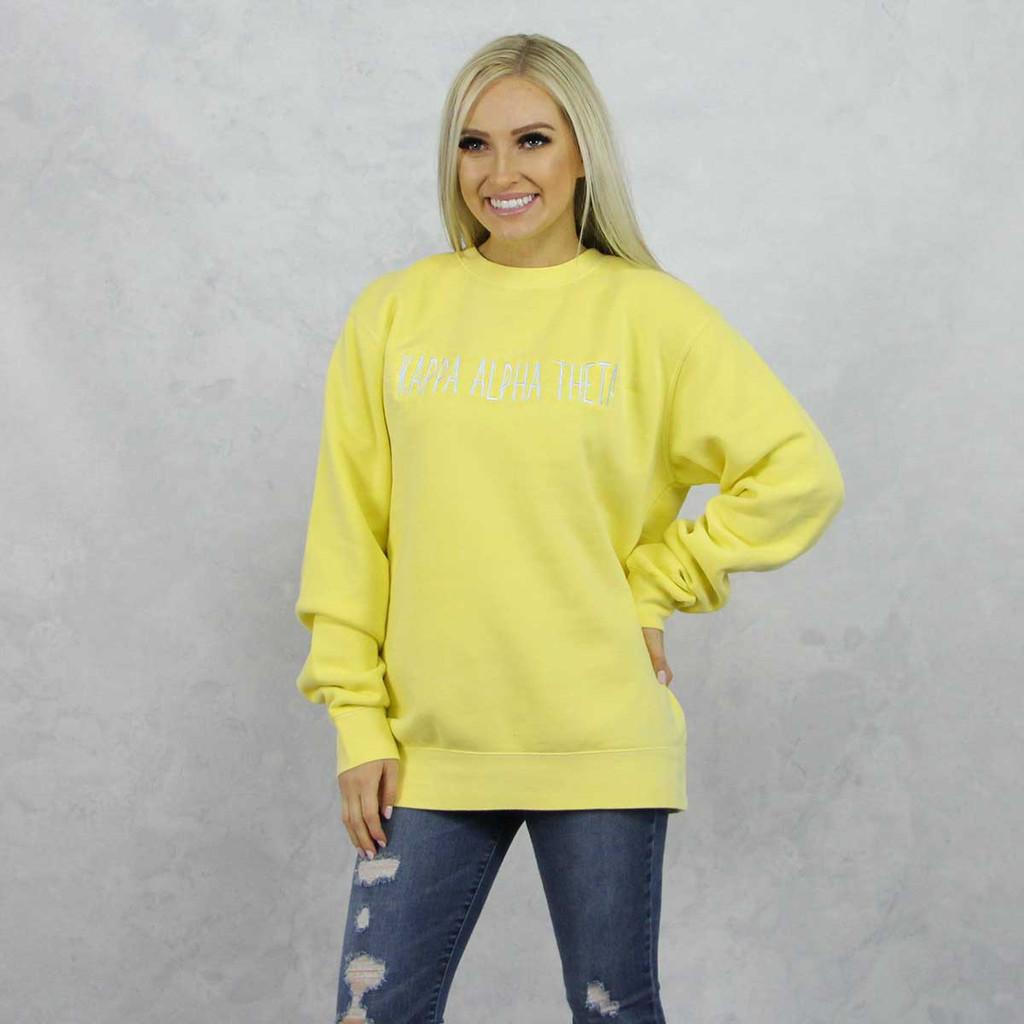 Kappa Alpha Theta Embroidered Sweatshirt in Yellow now on Theta Store.