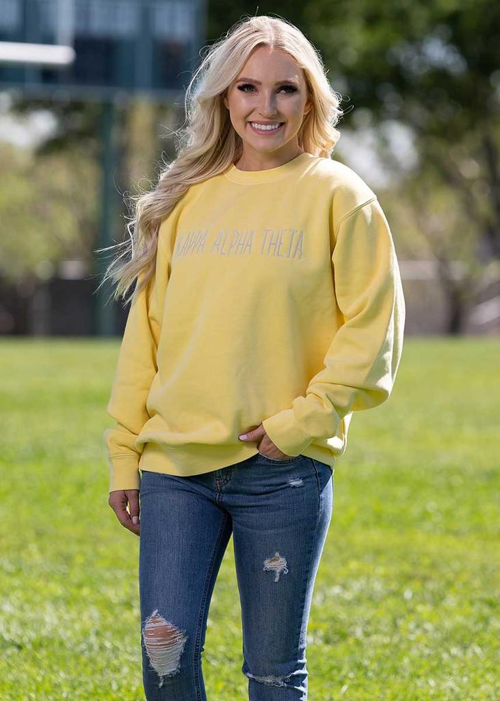 Kappa Alpha Theta Embroidered Sweatshirt in Yellow