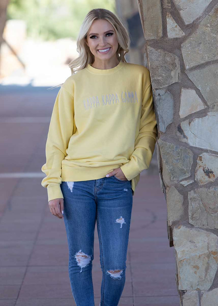 Kappa Kappa Gamma Embroidered Sweatshirt in Yellow
