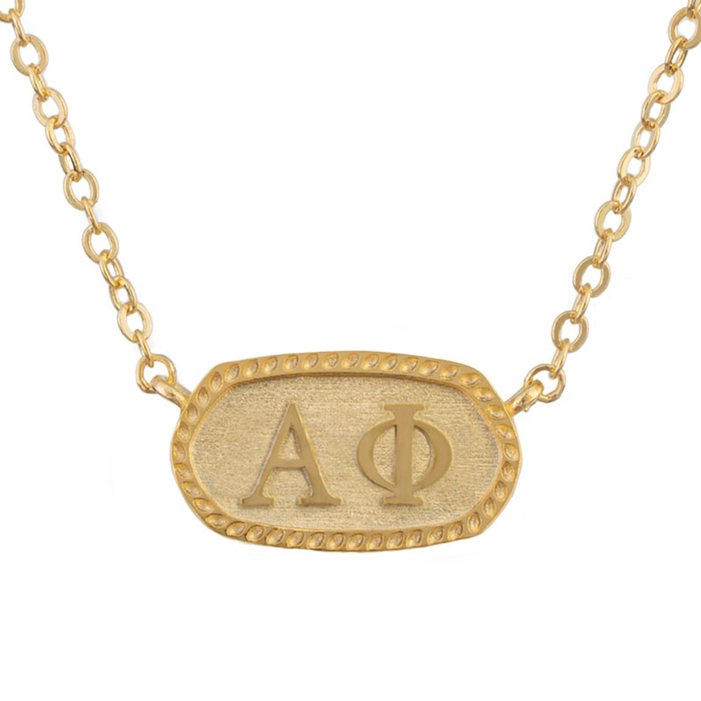 Alpha Phi Gold Oval Necklace by Sorority Specialties.