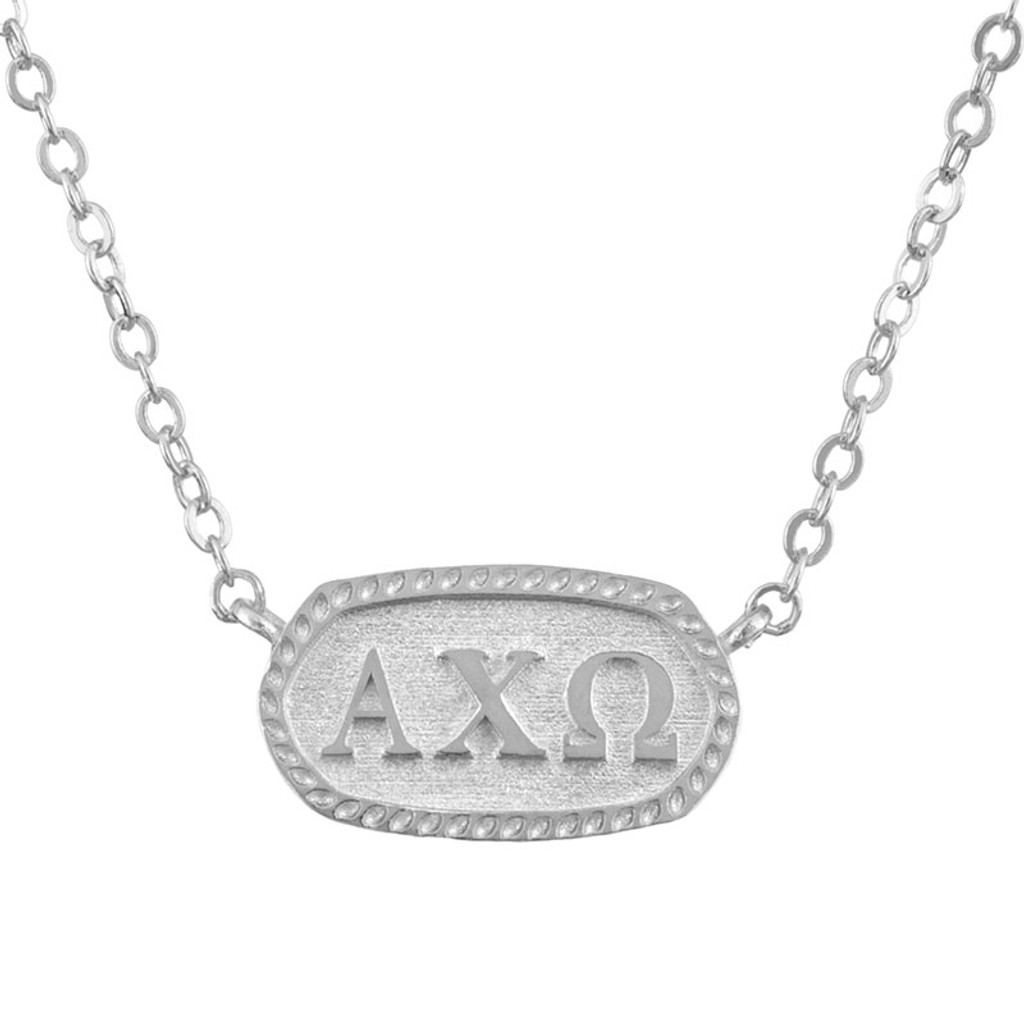 Alpha Chi Omega Silver Oval Necklace