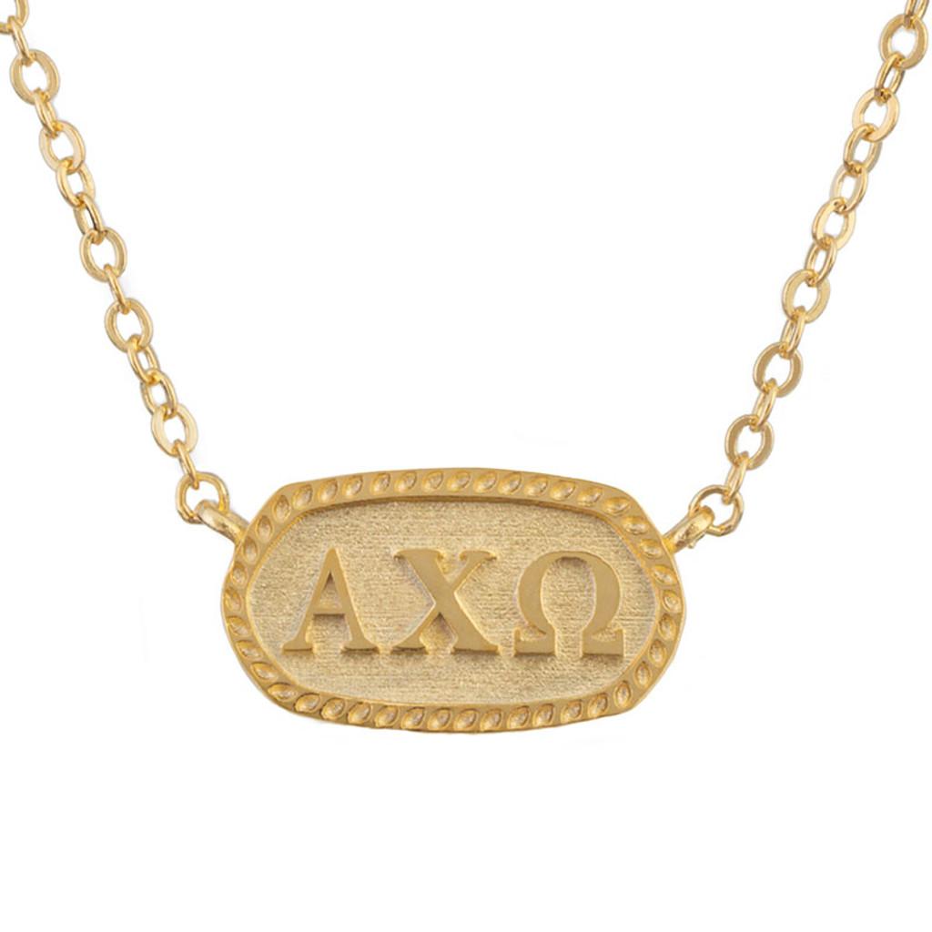 Alpha Chi Omega Gold Oval Necklace