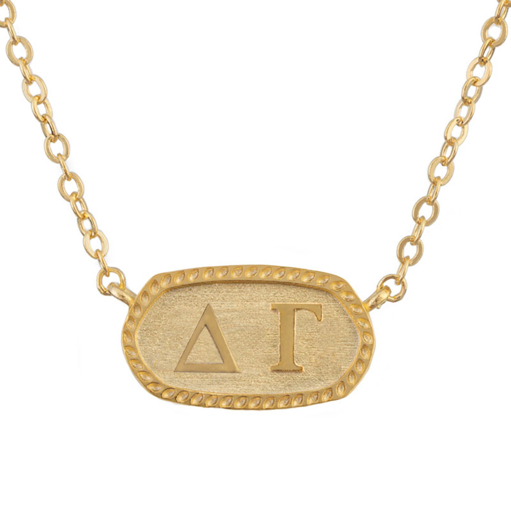 Delta Gamma Gold Oval Necklace
