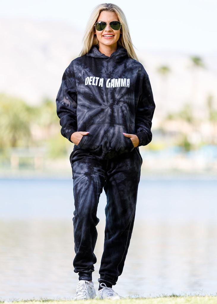 Delta Gamma Tie Dye Hoodie in Black Main