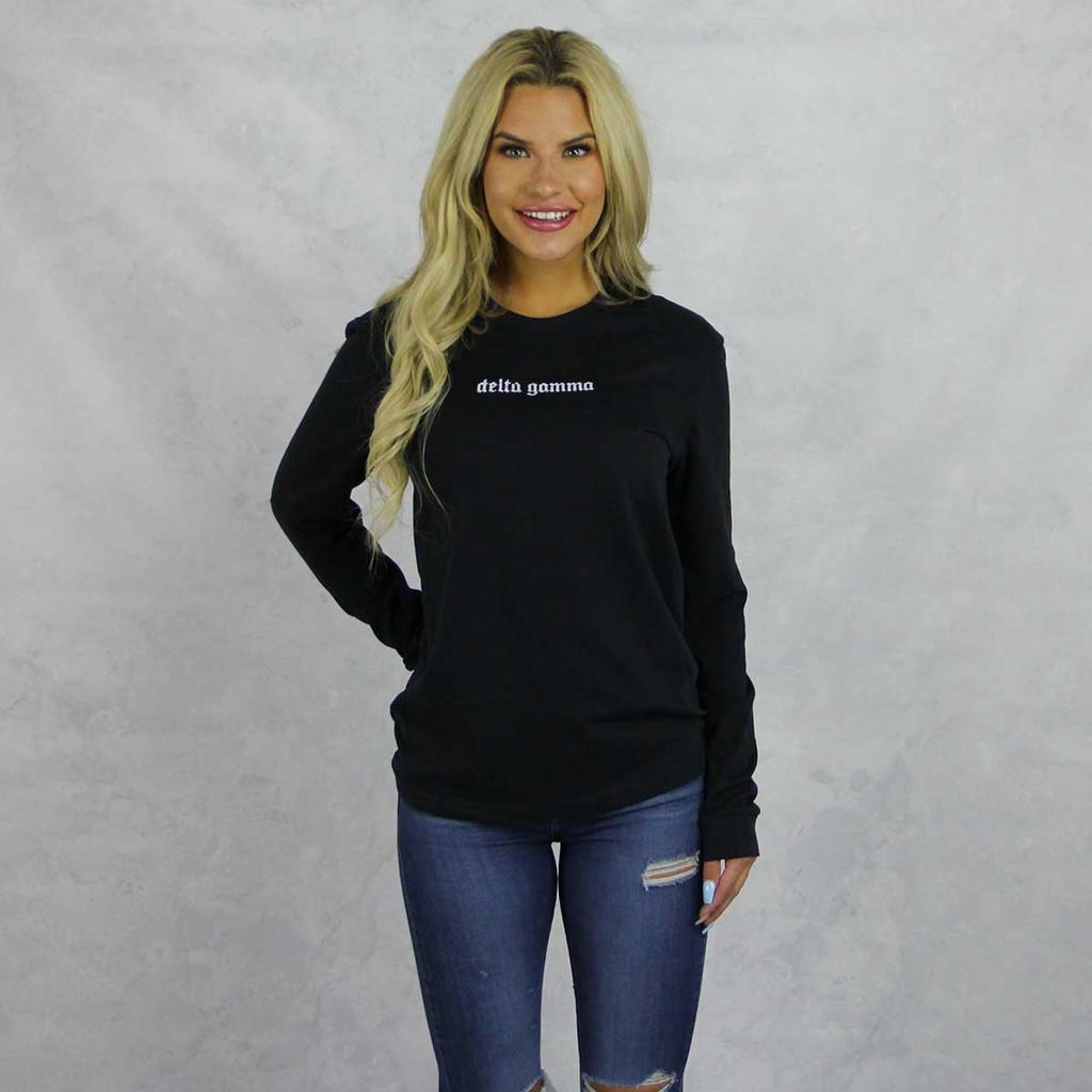 Delta Gamma Long Sleeve T-Shirt in Black