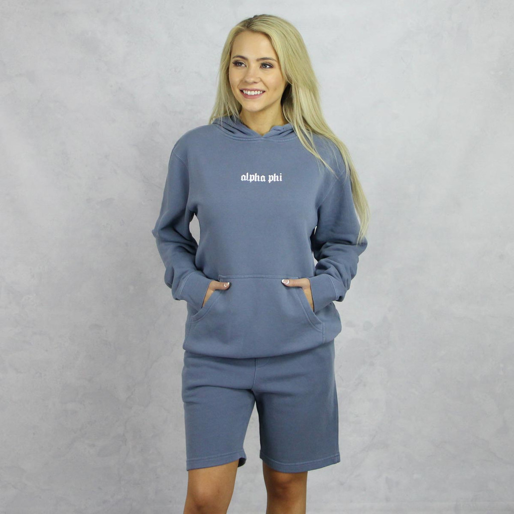 Alpha Phi Blue Hoodie and Shorts