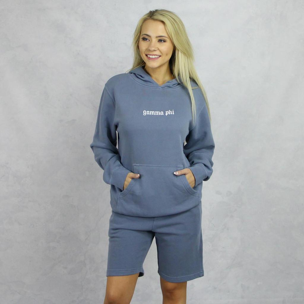 Gamma Phi Beta Blue Hoodie and Shorts