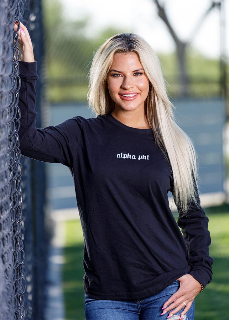 Alpha Phi Long Sleeve T-Shirt in Black Main