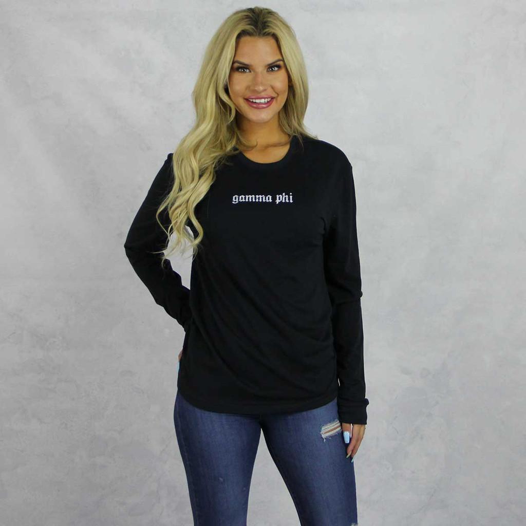 Gamma Phi Beta Long Sleeve Shirt in Black