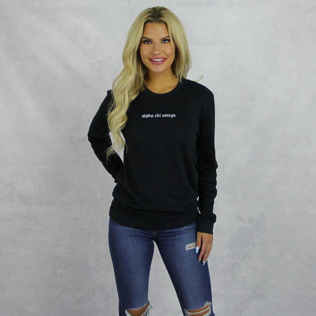 Alpha Chi Omega Long Sleeve T-Shirt in Black