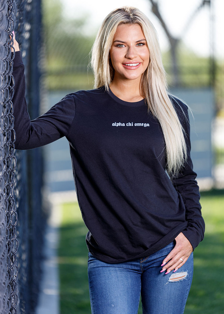Alpha Chi Omega Long Sleeve T-Shirt in Black  Main