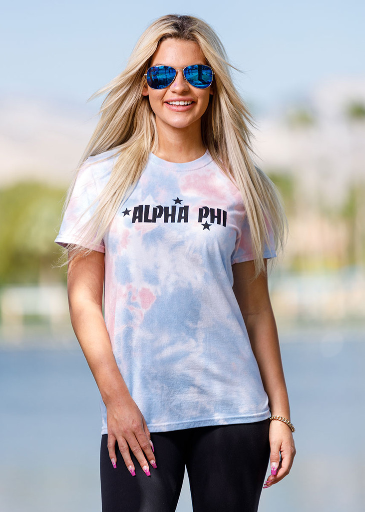 Alpha Phi Short Sleeve Tie Dye T-Shirt Main