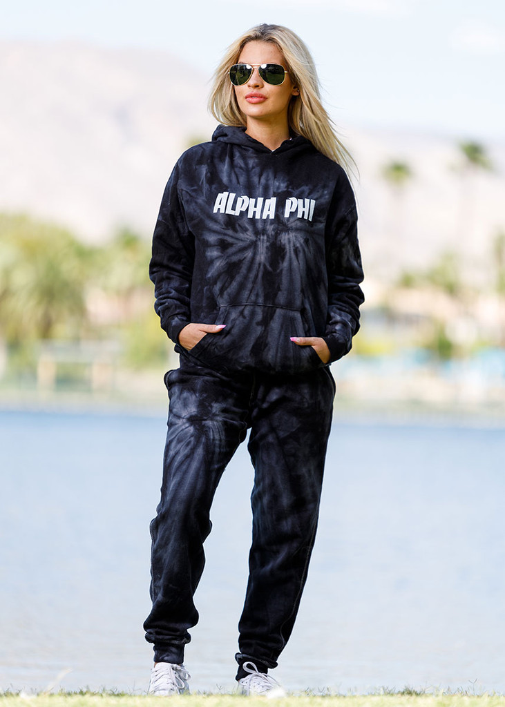 Alpha Phi Tie Dye Hoodie in Black Main