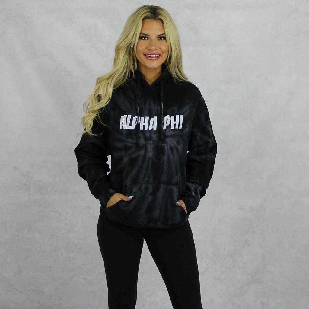 Alpha Phi Tie Dye Hoodie in Black