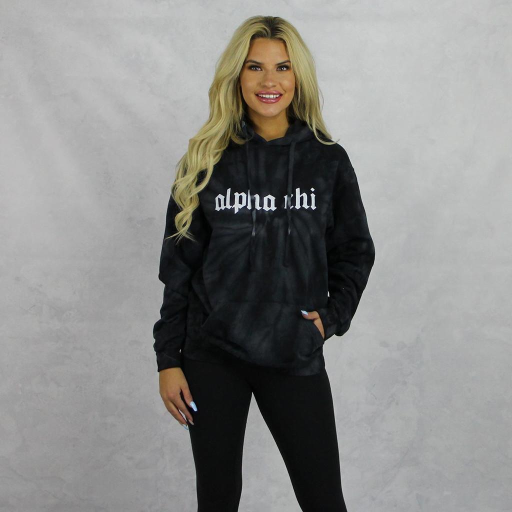Alpha Chi Omega Tie Dye Hoodie in Black