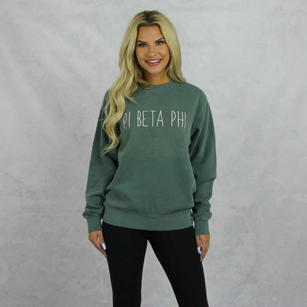 Pi Beta Phi Embroidered Sweatshirt in Green