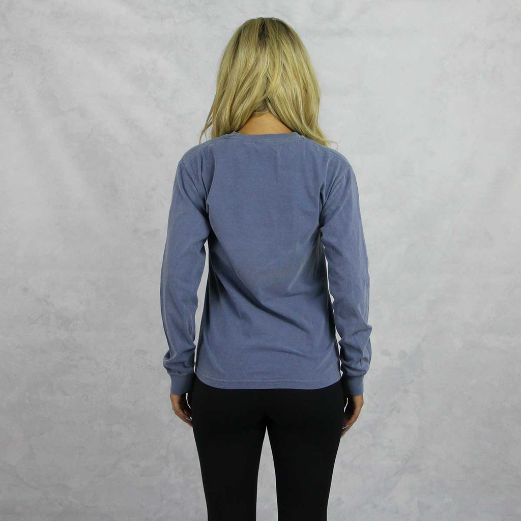 Pi Beta Phi Comfort Colors Long Sleeve T-Shirt in Blue Jean Back