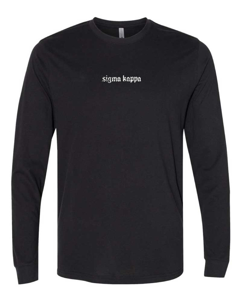 Sigma Kappa Long Sleeve T-Shirt in Black