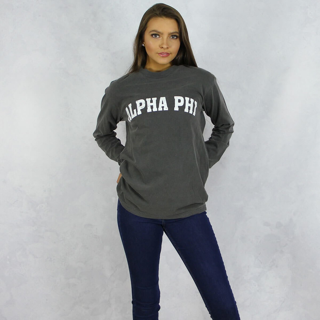 Alpha Phi Comfort Colors Long Sleeve T-Shirt in Dark Gray