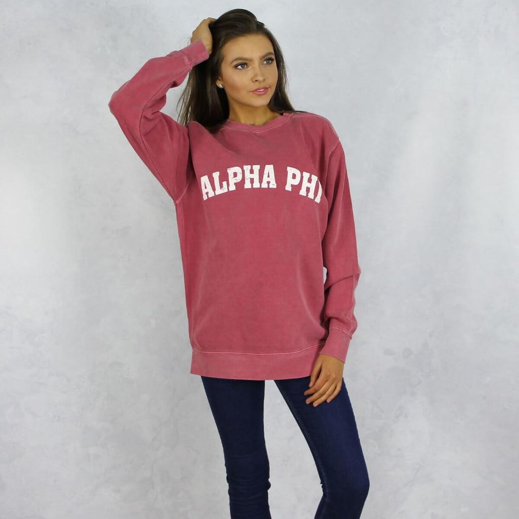 Alpha Phi Comfort Colors Sweatshirt in Red