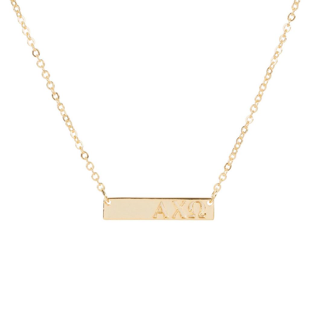 Alpha Chi Omega Gold Bar Necklace