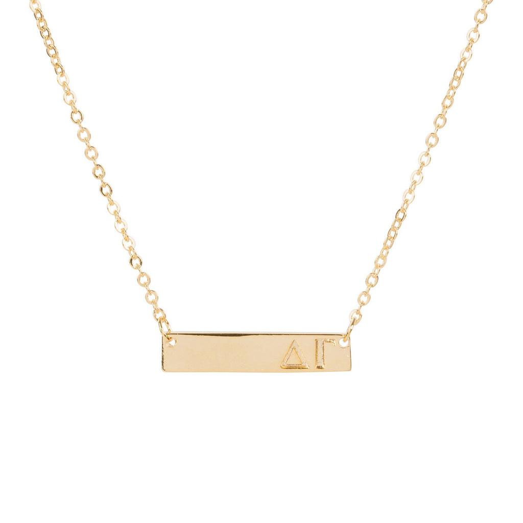 Delta Gamma Gold Bar Necklace