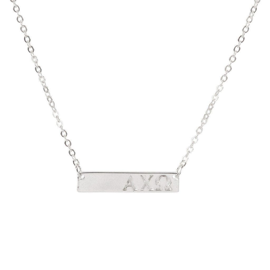 Alpha Chi Omega Silver Bar Necklace